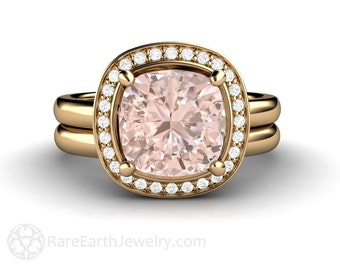 2ct Cushion Morganite Engagement Ring Bridal Set Wedding Band Diamond Halo Wedding Set Fleur de Lis Morganite Ring 14K or 18K Gold