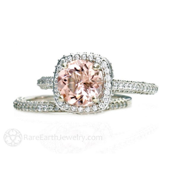 Platinum Morganite Bridal Set Diamond Halo Morganite Engagement Ring Conflict Free Wedding Ring
