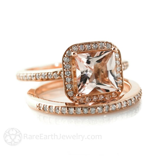 Rose Gold Morganite Engagement Ring & Wedding Band Princess Diamond Halo Morganite Ring 14K or 18K Gold