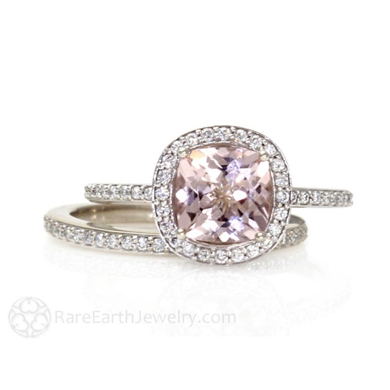 Platinum Cushion Morganite Engagement Ring Wedding Band