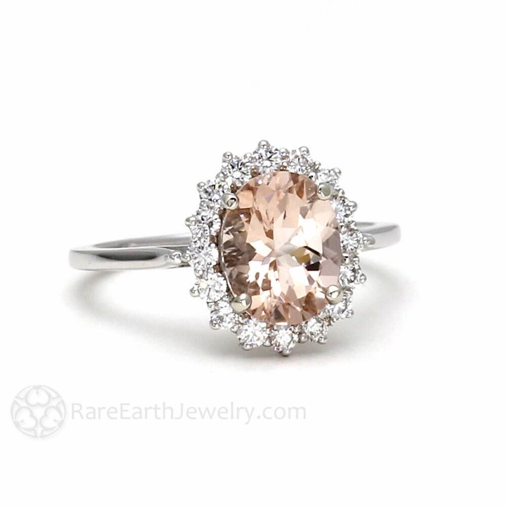 Morganite Engagement Ring Peach Morganite Ring Oval Halo
