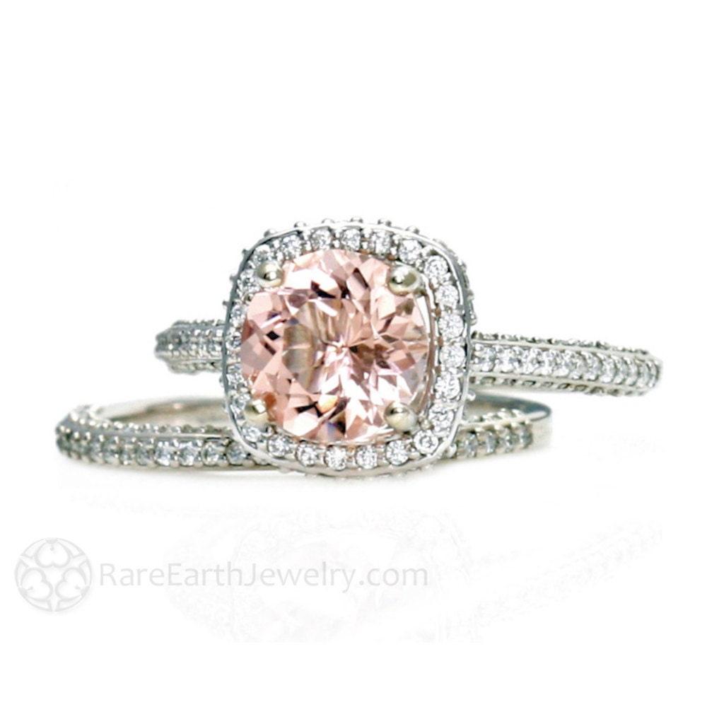 platinum morganite bridal set diamond halo morganite engagement ring conflict free wedding ring - Morganite Wedding Rings