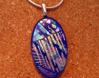 Blue Dichroic Pendant - Fused Glass Pendant - Dichroic Jewelry - Fused Glass Jewelry
