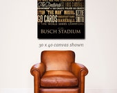 Busch Stadium baseball field st louis Typography Canvas Art graphic art on gallery wrapped canvas by stephen fowler