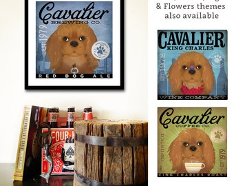 Ruby Cavalier King Charles Coffee Company graphic art giclee archival print by Stephen Fowler Pick A Size