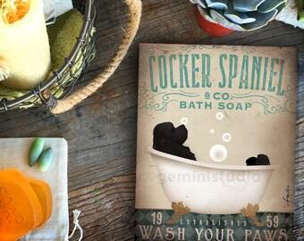 Cocker Spaniel dog bath soap Company bath artwork by stephen fowler on gallery wrapped canvas