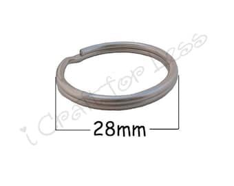 100 Key Rings 28 mm (1 1/8 Inch) - Round Nickel Plated Split Rings - Key Fob Hardware Key Rings - SEE COUPON