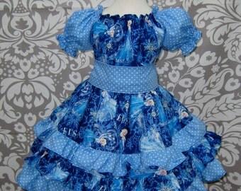 Ruffle Dress Birthday Dress Girls Dress Party Dress Ruffled Dress Blue Dress Polka Dots Dress