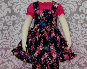 Jumper Outfit, Jumper Dress, Girls Jumper With Dress Top, Toddler Outfit, Flower Girl Dress