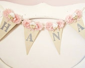 Girl Name Banner, Pink and Grey Nursery, Pink and Silver, Shabby Chic Nursery, Girl 1st Birthday Decor, Shabby Chic Wedding, Bridal Shower