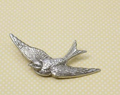 Bird barrette hair clip sparrow retro silver or bronze hair accessory vintage style swallow