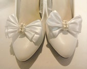 Shoe Clips -  White Satin Ribbon Triple Bow - 4 petaled enamelled Cream Flower & Diamantes - Handmade