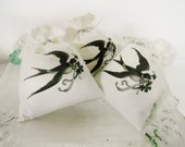 White Egyptian Cotton Lavender Sachet with  Swallow  in Flight Transfer