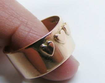 Wide Rose gold Ring, Handmade Solid 9k Rose Gold Band Ring with 3 hearts size S (US Size 9 1/8)