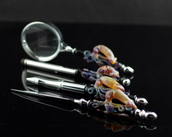 SALE Squid 4-Piece Desk Set: Letter Opener, Pen, Stylus, and Magnifying Glass in Black & Amber Purple, Ready to Ship #142