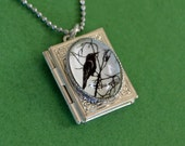 Sale 20% Off // FOR the LOVE of CROWS Book Locket Necklace, pendant on chain - Silhouette Jewelry - Silhouette Jewelry // Coupon Code SALE20