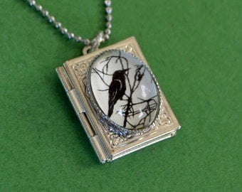 Sale 20% Off // FOR the LOVE of CROWS Book Locket Necklace, pendant on chain - Silhouette Jewelry // Coupon Code SALE20