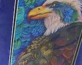 original art  drawing 11x14 eagle zentangle design abstract