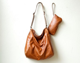 sale SOFT BUCKET BAG with matching clutch | in premium veg tan American saddle leather -  large leather cross body bag
