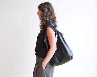 sale - soft black bag - SLING - select size - leather tote - soft leather tote - light leather tote