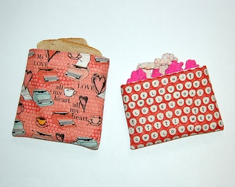 Vintage Typewriter (Dark Coral) - Eco Friendly Reusable Sandwich and Snack Bag Set