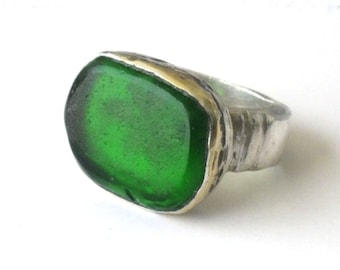Silver Gold Green Sea Glass Ring, Statement Ring, Chunky Green Ring, Sea Glass Ring, Mediterranean Sea Glass, Artisan Glass Ring