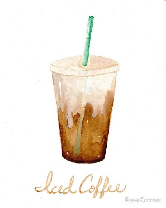 Watercolor iced coffee cat folk art print 8x10 11x14 for Coffee watercolor