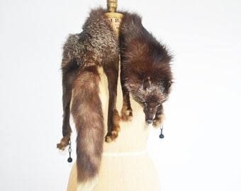 vintage 30s fox fur stole -head tail feets- silver fox fur shawl