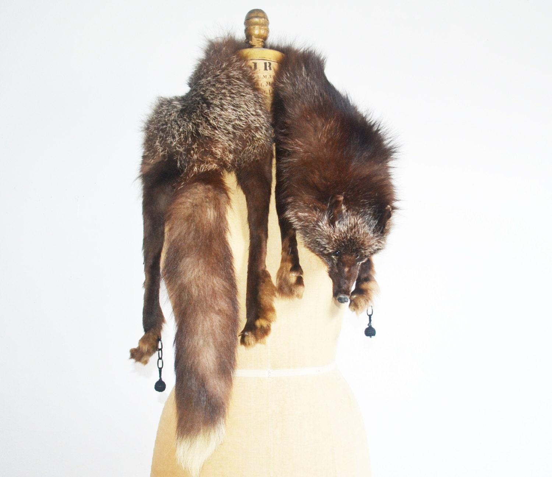 Vintage 30s fox fur stole head tail feets silver fox fur - Stoel fur ...