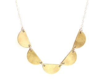 Small Semicircle Scalloped Necklace - Brass, Gold Fill or Sterling Silver Chain