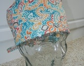 Tie Back Surgical Scrub Hat with Coastal Flair