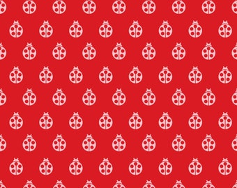 Boho Fabric, Tribal Fabric, Christmas fabric by Tula Pink, Ladybug in Lava, Fabric By The Yard, Free Shipping Available