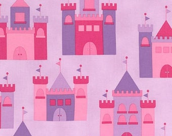 Cotton Fabric, Princess Life Fabric, Princess fabric by Ann Kelle, Castle in Spring Pink, Fat Quarters to Yardage- You Choose The Cut
