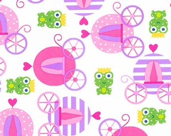 Princess fabric, Designer Fabric, Fabric by the yard by Ann Kelle for Robert Kaufman, Frog Prince and Carriage in Spring Pink