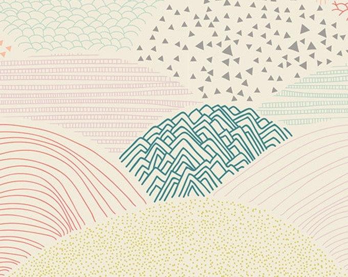 Hello Bear fabric by Bonnie Christine for Art Gallery Fabrics, Ivory fabric- Summit in Dawn, Choose your cut