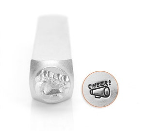 Design Stamp - MEGAPHONE for Cheering - 6mm stamped image by ImpressArt -  includes How to Stamp Metal tutorial
