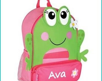 Toddler backpack- monogram backpack- personalized toddler backpack- backpack diaper bag- Frog backpack -  Back to school backpack