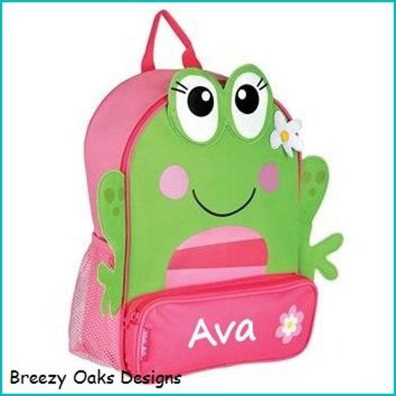 Toddler backpack- monogram backpack- personalized toddler backpack- backpack diaper bag- Frog backpack -  Back to school backpack