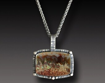 Prudent Man Agate Necklace Sterling Silver  Plume Agate  Pendant