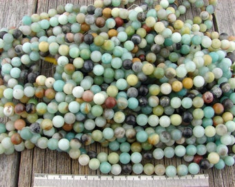 8mm Amazonite Beads, 8mm Flower Amazonite Beads, Multicolor Amazonite Smooth Round Beads 8 mm, Natural Gemstone Round Beads