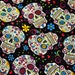 """Choose 1 of 2 Day of the Dead Sugar Skulls on Black or Red Background 100% Cotton Fabric 45"""" Wide"""