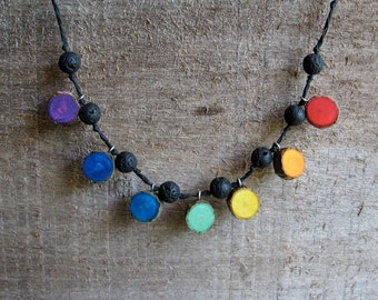 Rustic Rainbow Holly Twig and Lava Beads Black Hemp Necklace by Tanja Sova