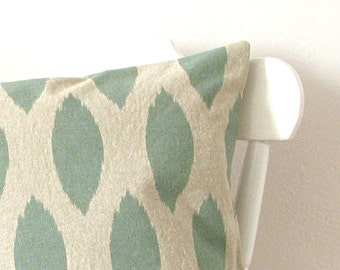 Pillow Ikat Linen Cotton Pillow Green Natural Flax