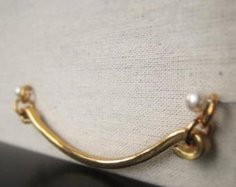 Gold U Bar Connecotr Hammered Brass Pendant Connector  Item No. 7082