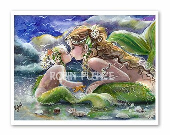 Large, Kissing mermaids, Mother and Child, Mermaid Art, POSTER SIZE PRINT