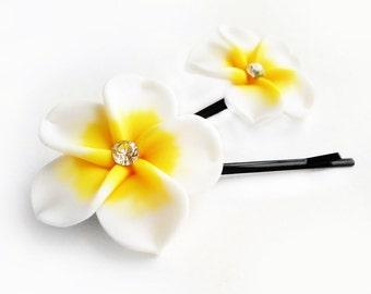 Bobby Pins, Hair Pins, Hair Accessories, Hair Jewelry, Natural Hair, Hair Decor, Sunny Hawaiian Plumeria Flower Bobby Pin Set