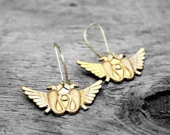 Egyptian Earrings, Kemetic Earrings, Brass Earrings, African Earrings, Egyptian Eagle Earrings, Freedom Kemetic Eagle Brass Earrings