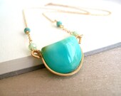 Peruvian Opal Necklace Aqua blue green Summer jewelry Vitrine Designs October birthstone Rockpool Necklace