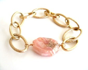 Gold Chain bracelet Pink gemstone Pink Opal Gift for her Vitrine Under 60 Statement bracelet