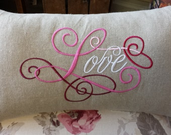 Handmade 'LOVE' embroidered cushion